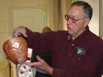 Jim Rinde with deeply wire-brushed Redwood vessel