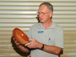 Ron Lindsay with wire-brushed Redwood bowl