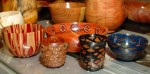 Jim Rinde's latest  epoxy creations - bamboo on left, pine cones on right