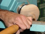Finiishing the shaping of finial on lid - still glued to faceplate