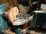 Woodcut tool in action - note the two cutter radii