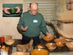 Al Geller with bowls and epoxied flower vase