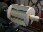 Project 5: Shop built jig can hold at least four work pieces - make center barrel smaller diameter so work pieces can be rotated fully