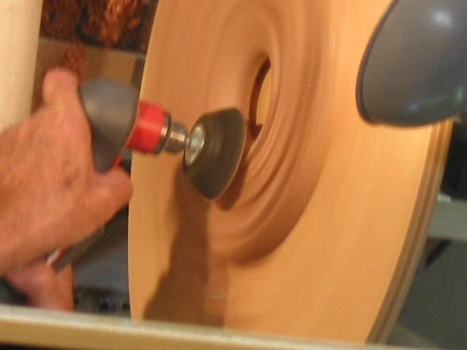 Power sanding with the lathe on