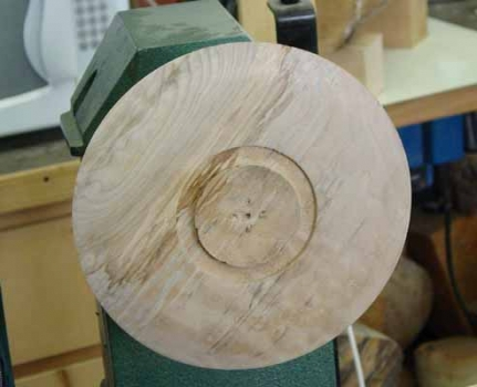 The top of the bowl with the best figure is partially shaped and a tenon is cut so it can be reversed.