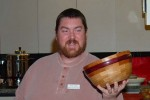 New member Chuck Lubin is from Arizona. Large pieces of wood are hard to find so they do a lot of segmental turning.