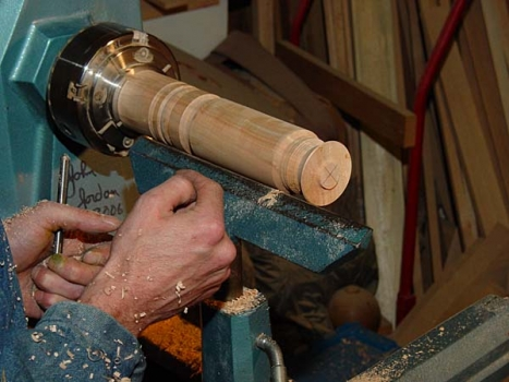 Cylinder is used to demonstrated basic coves and beads (spindle turning).