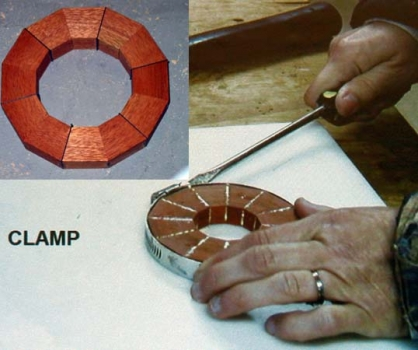 Glueing up a single ring using a hose clamp.
