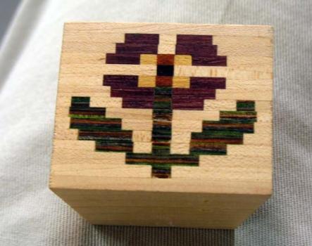 Flower mosaic block glued up.