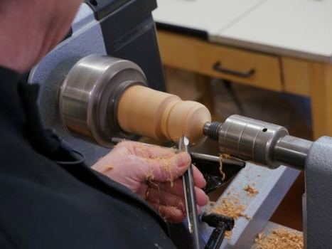 Making the hollow form from Cherry wood