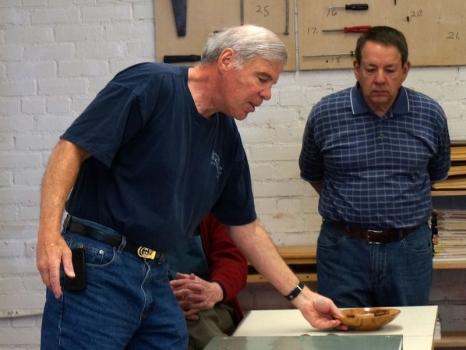 Tom B. showed donated Acacia bowl for wood supplier in Santa Barbara