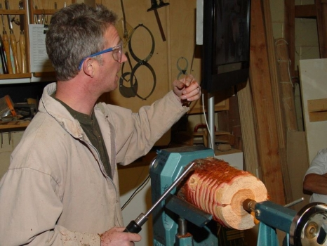 Next project: Redwood vase - V cuts to remove the fibrous bark