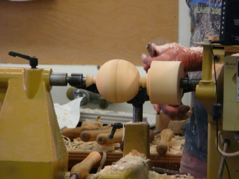 Roughing out the ball - leave fat on ends, mark equator
