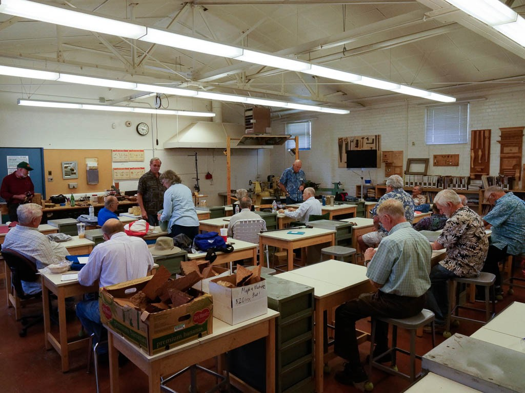 Good turnout for the Brad Adams all-day demo.  Boxes of Madrone and Maple  burl cutoffs for sale.