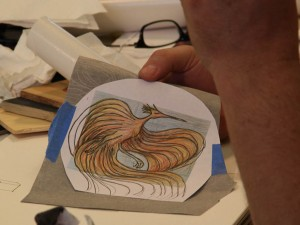 Phoenix pattern for tracing  onto wood