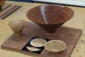 Ron with various experiments leading to Schuler bowl from a board - Bubinga bowl