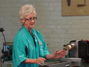 Sally Ault begins demo on lidded box decoration