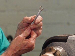 Use wrench as gauge and cutter