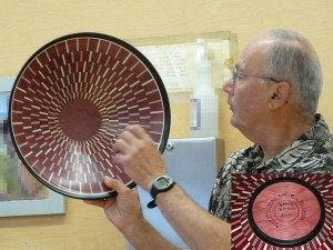 """Bruce Berger with another spectacular segmented """"bowl from a board"""" - mostly Purpleheart"""