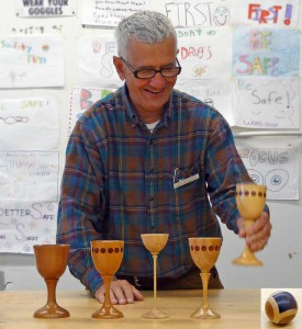 Rick Haseman with goblet series and segmented sphere