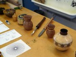 Bruce O.'s tools and turnings in center