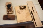 Examples by Sam of woodburning and carving decoration/texturing