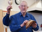 Ray H. appreciated help at last meeting with goblet and Ironbark Eucalyptus bowl