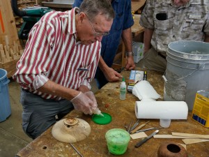 Jim R. showing crack filling with epoxy and colored filler