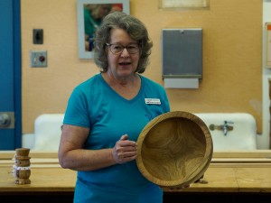 Joanne with Mystery Wood heavy bowl