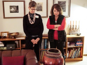 Nancy L. and Linda E. admiring Judy A's gourd