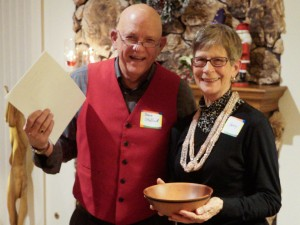 Nancy L. with the Brad Adams decorated Madrone bowl