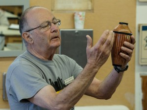 Bruce B. with segmented vase in Carob and Ebony - all vertical grain