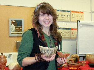 Katie M.: pierced, colored, carved and wood-burned bowls.