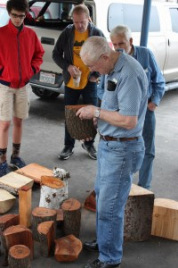 Ray H. selecting his wood raffle log