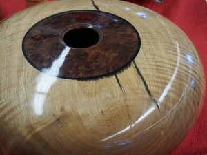 Example of dark resin bleeding into light wood