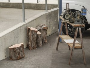 Ron L. brought Juniper wood; Bruce O. brought donated antique lathe