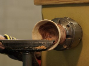 Hollowing the top cup - Juniper wood