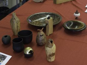 Show and Tell: Ron L. brought teapot, Were Wabbit, and therming jigs. (See Ron's demo on therming and reverse turnings in the June 2010 meeting photos.)