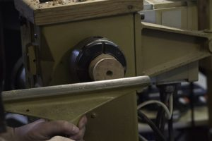 Showing dowel used to register the two pieces cut at an angle to the lathe axis