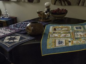 Craft Table: Gourd by Judy A., quilts by Nancy L. and Vicki H.