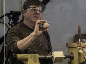 Baseball project - stitches are wood burned