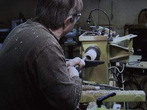Hollowing each half with hook tool
